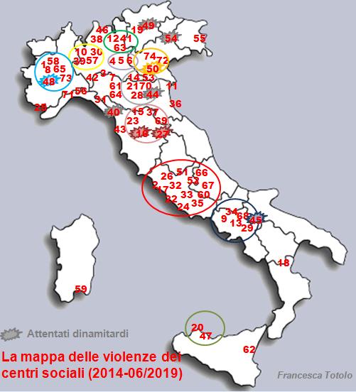 mappa violenze centri sociali