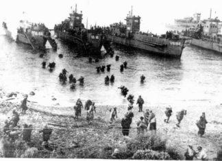 Un'immagine dello sbarco alleato sull'isola d'Elba