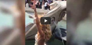valeria marini, bagno in fontana