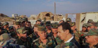 Assad insieme ai soldati siriani