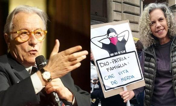 Vittorio Feltri e Monica Cirinnà con slogan femminista