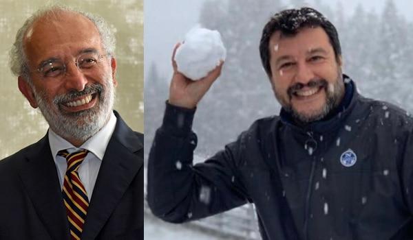 Lerner e Salvini con una palla di neve in mano