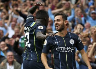 Bernardo Silva e Mendy, calciatori del Manchester City