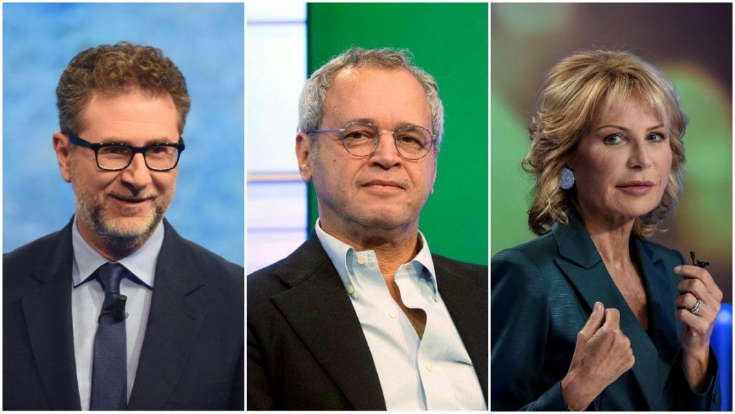 I giornalisti Fazio, Mentana e Gruber