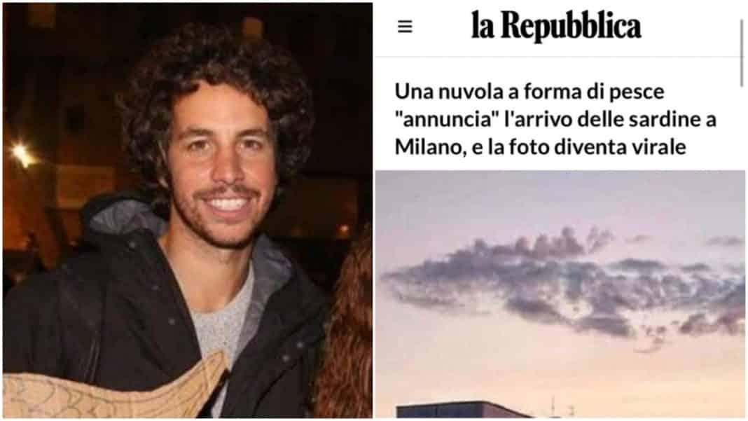 Il leader delle sardine Mattia Santori e titolo di Repubblica