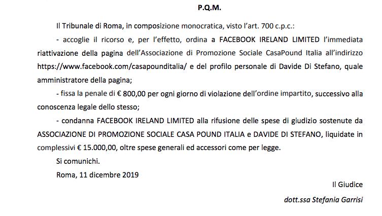 sentenza Facebook CasaPound