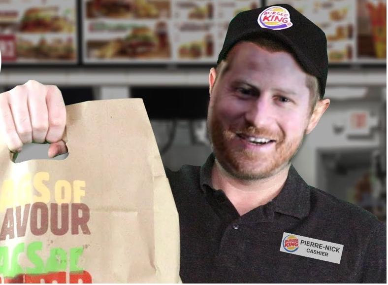 Harry che lavora da Burger King