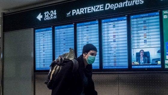 Controlli coronavirus aeroporto