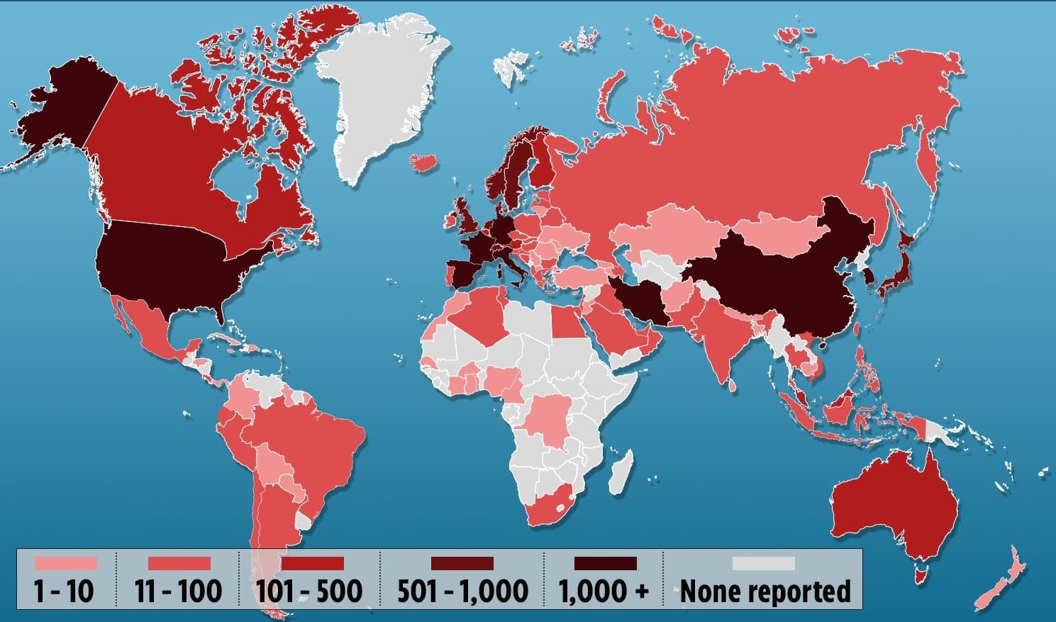 Cartina Mondo Stati.Coronavirus Anche New York Chiude Tutto La Mappa Del Contagio Nel Mondo Il Primato Nazionale