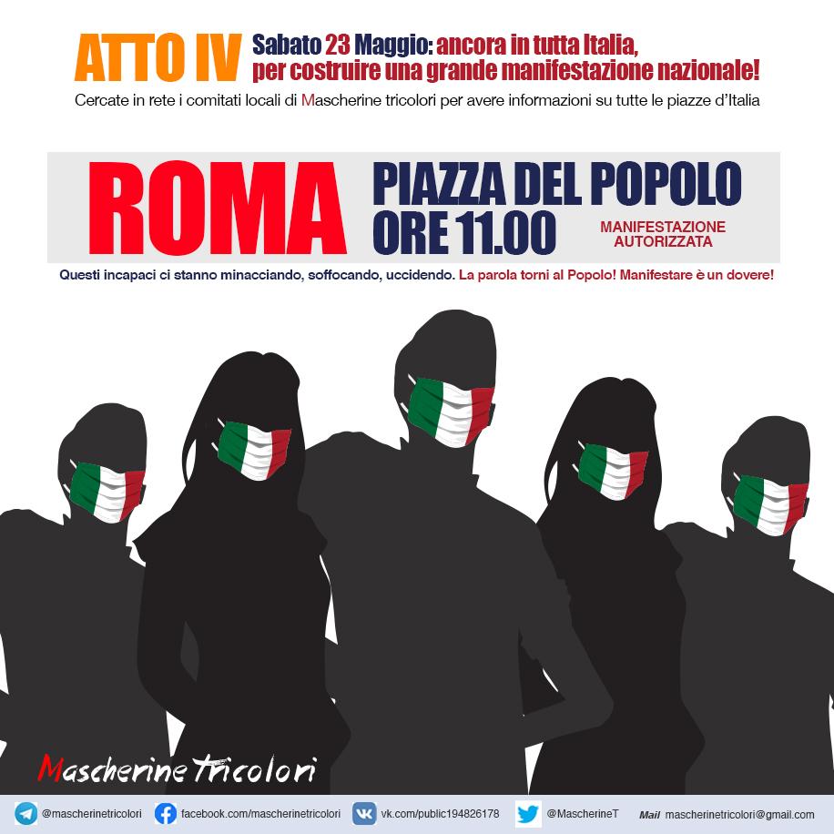 mascherine tricolori manifestazioni tutta Italia