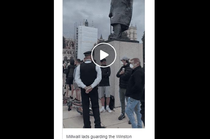 Tifosi del Millwall difendono statua di Churchill