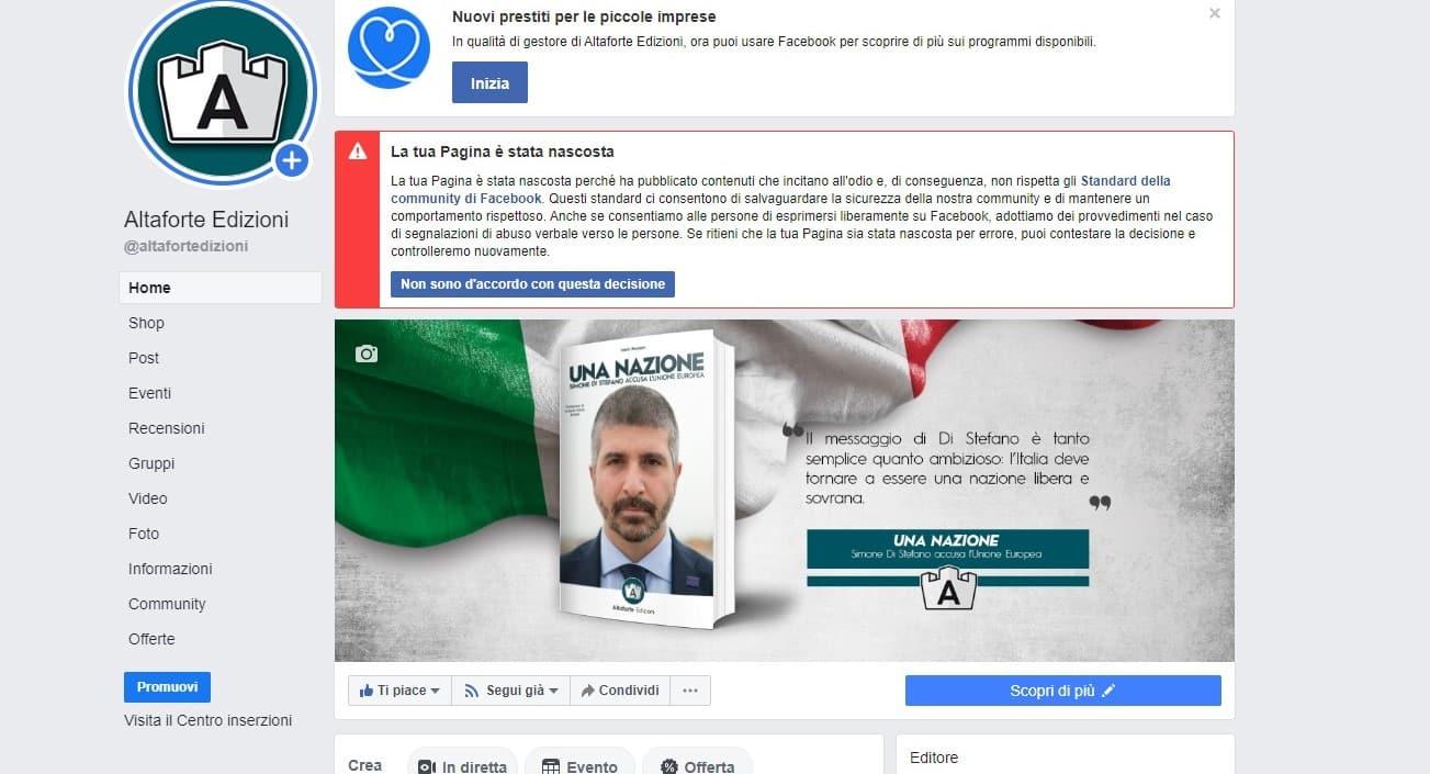 Facebook cancella la pagina di Altaforte. La casa editrice: