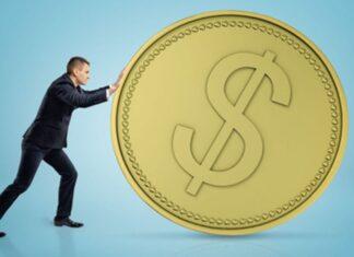 uomo che spinge moneta, metafora di investimento