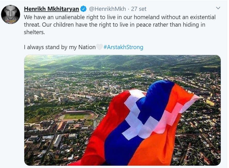 """Armenia, Mkhitaryan: """"Mi schiero con la mia patria, la Turchia smetta di reclutare terroristi stranieri"""""""