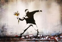 banksy ue marchio anonimato the flower thrower