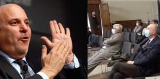 Alan Friedman e immagine convegno Trump