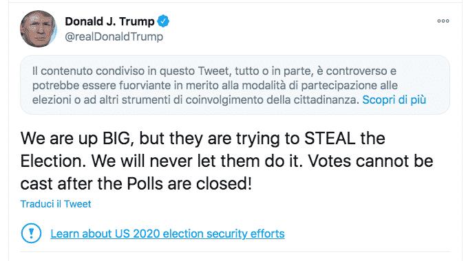 Twitter trump censura elezioni