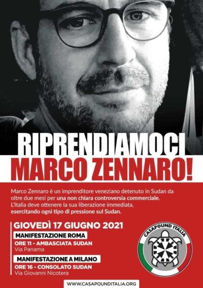 """Riprendiamoci Marco Zennaro"". CasaPound manifesta a Roma e Milano"
