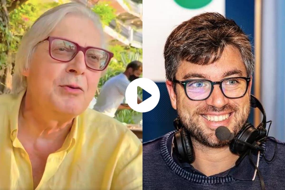 "Sgarbi bastona Stefano Feltri: ""Chiami i no vax 'evasori vaccinali', tu sei un evasore mentale"""